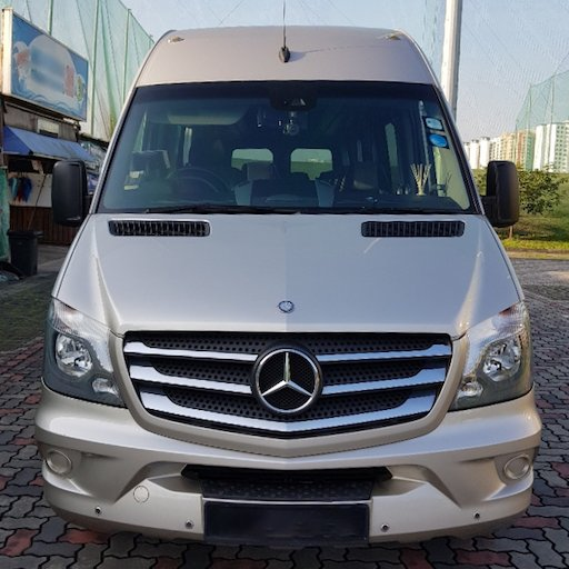 Front view of 19-seater Mercedes Benz Sprinter mini bus