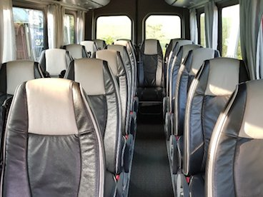 Luxury interior of 19-seater Mercedes Benz Sprinter mini bus
