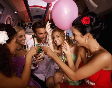Toasting in party bus